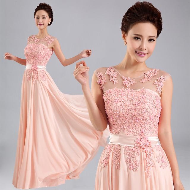 New 2014 Bridal Evening Dresses Beaded Floral Silk Chiffon Long ...