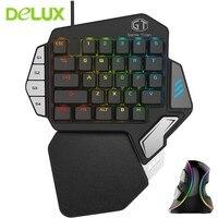 Delux геймерские T9X механическая клавиатура Мышь Combo Профессионального одной рукой проводной клавиатуры с M618 плюс RGB вертикальная Мышь