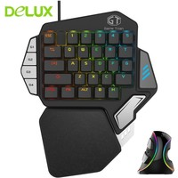 Delux Gamer Gaming T9X Mechanical Keyboard Mouse Combo Professional Single Hand Wired Keypad With M618 Plus RGB Vertical Mouse