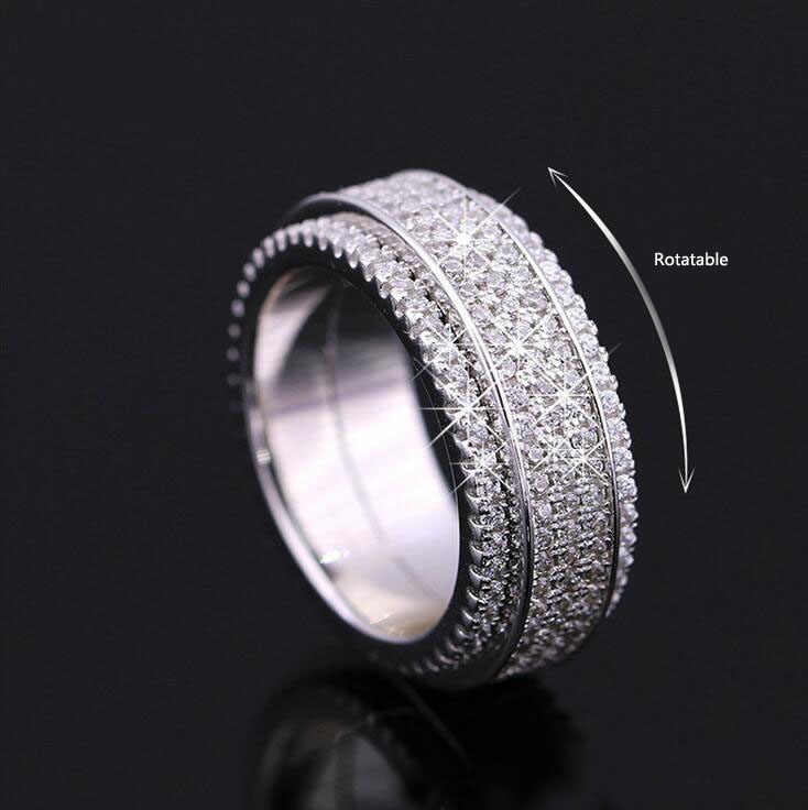 Classic Fashion Jewelry Stunning 925 Sterling Silver Filled 5A White CZ Zirconia Party Rotatable Wedding Lady Band Ring Gift
