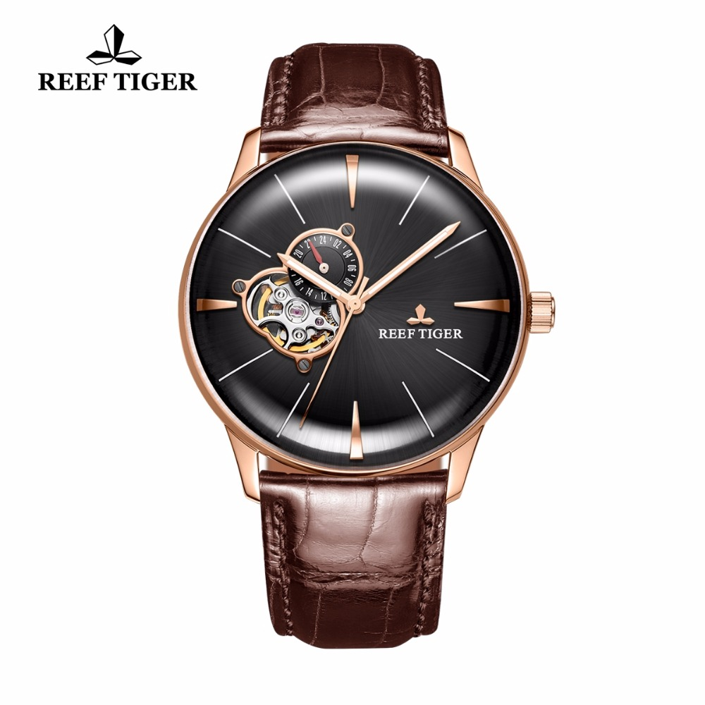 New Reef Tiger/RT Luxury Rose Gold Watches Men's Automatic Mechanical Watches Tourbillon Watches with Brown Leather Strap RGA823