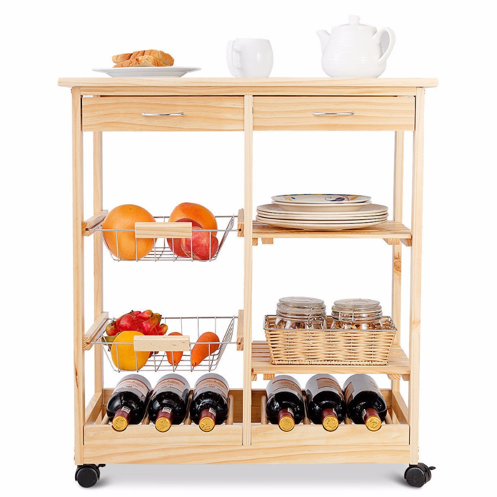Goplus Rolling Wood Kitchen Trolley Cart Island Shelf w/ Storage Drawers Baskets New HW58491NA 4
