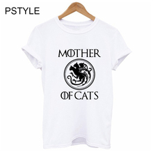 Summer Fashion Womens T Shirt Mother of Cats Design Short Sleeve Gothic Tee Female Dracarys Dragon Graphic Print Funny Shirts