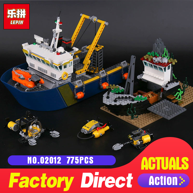 Lepin 02012 Genuine 775Pcs City Series The Deep Sea Exploration Vessel Compatible Legoing 60095 Set Educational Toys DIY Gifts цена