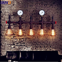 IWHD Loft Style Industrial Vintage Wall Lamp LED Edison Lighting Iron Antique Pipe Wall Light Fixtures Arandela Lampara Pared