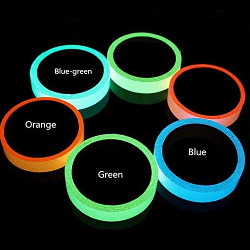 1.5cm*1M Blue/Green/Orange Stored Luminous Tape Self-adhesive Glowing Night /Dark Safety Stage Striking Warning Safety Tape Jj20