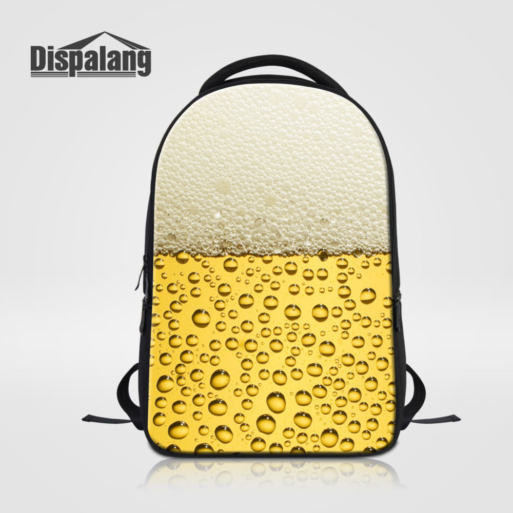 Dispalang Mens Laptop Backpack Beer Bubble Print Women Business Casual Travel Notebook Backpack Large Kids School Bag Mochilas