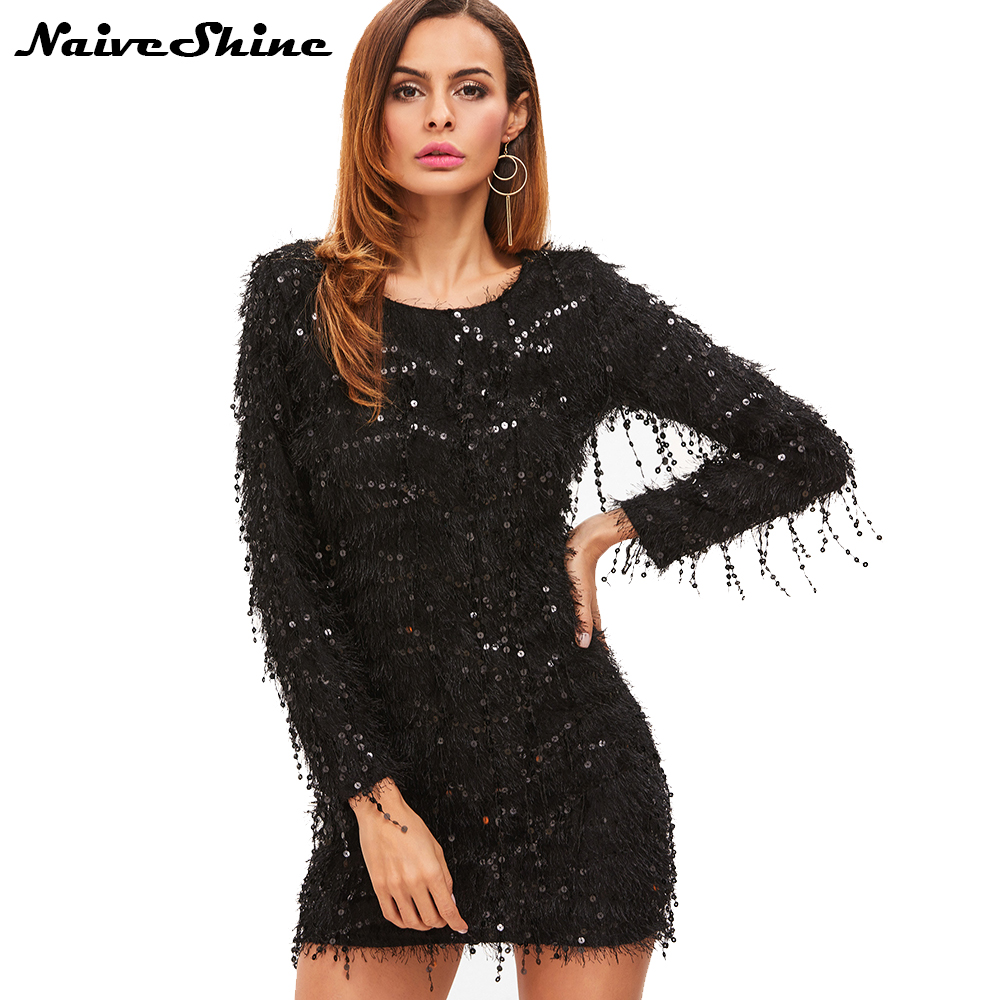 6084d054958 Naive Shine Womens Elegant Vintage Party Dresses Sequins Tassel Long Sleeve  Autumn Winter Sexy Mini Bodycon