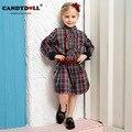 2017 nueva candydoll primavera niño vestido de niña de algodón a cuadros vuelta vestidos de manga larga de los niños 9-15 años