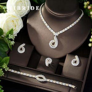 HIBRIDE Jewelry-Sets Crystal Party-Dubai Bridal-Zirconia Nigeria 2-Tones Women Luxury