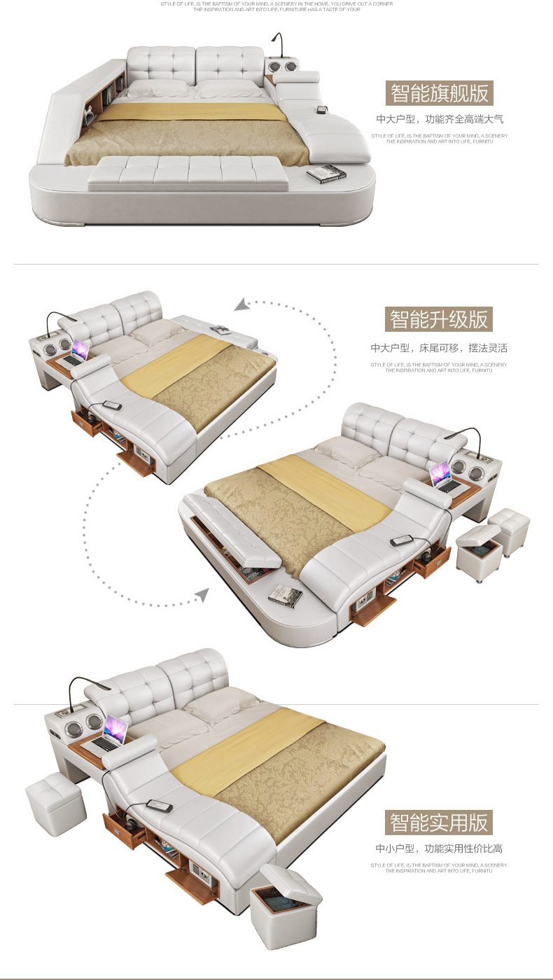 Genuine leather bed frame with massage and safe Modern Soft Beds Home Bedroom Furniture cama muebles de dormitorio camas quarto 9
