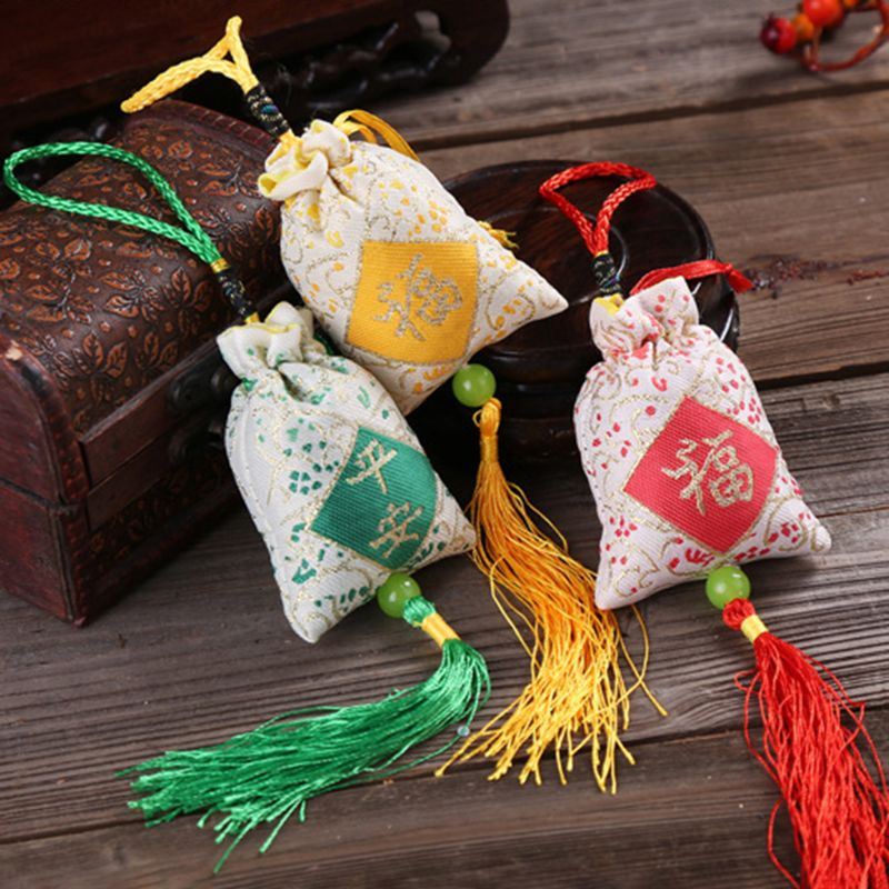 Car Hanging Lavender Sachet Bag Traditional Chinese Folk Art Word Printed Tassels Medicine Spice Fragrance Mascot Decoration