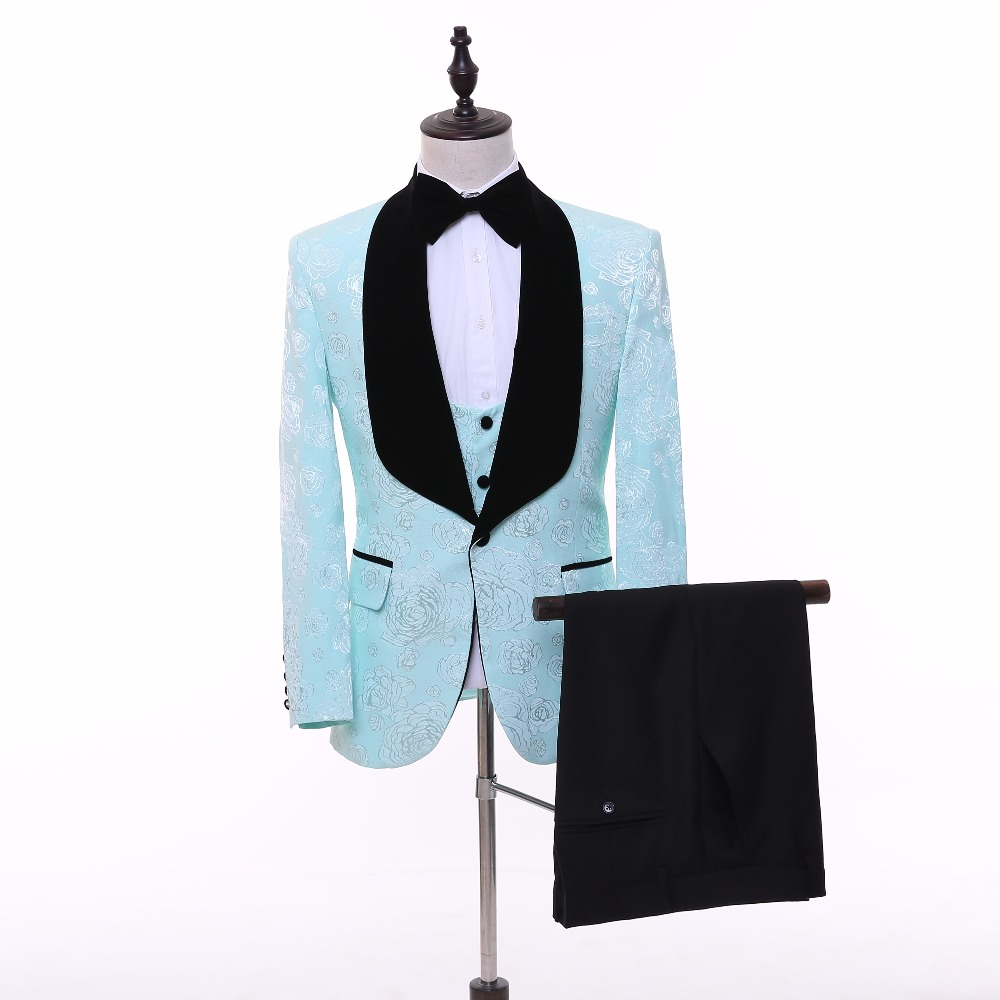 New Fashion 2 Colors Green/Pink Men Suits Blazer With Black Pants ...