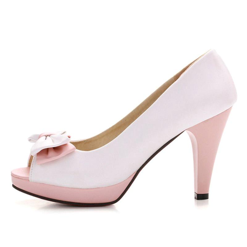 Peep Mode Talon Rizabina Bownot E Taille rose Chaussures Bleu Partie Pompes Toe Club 43 Haute Bowtie 33 blanc Femmes vvRtqwC