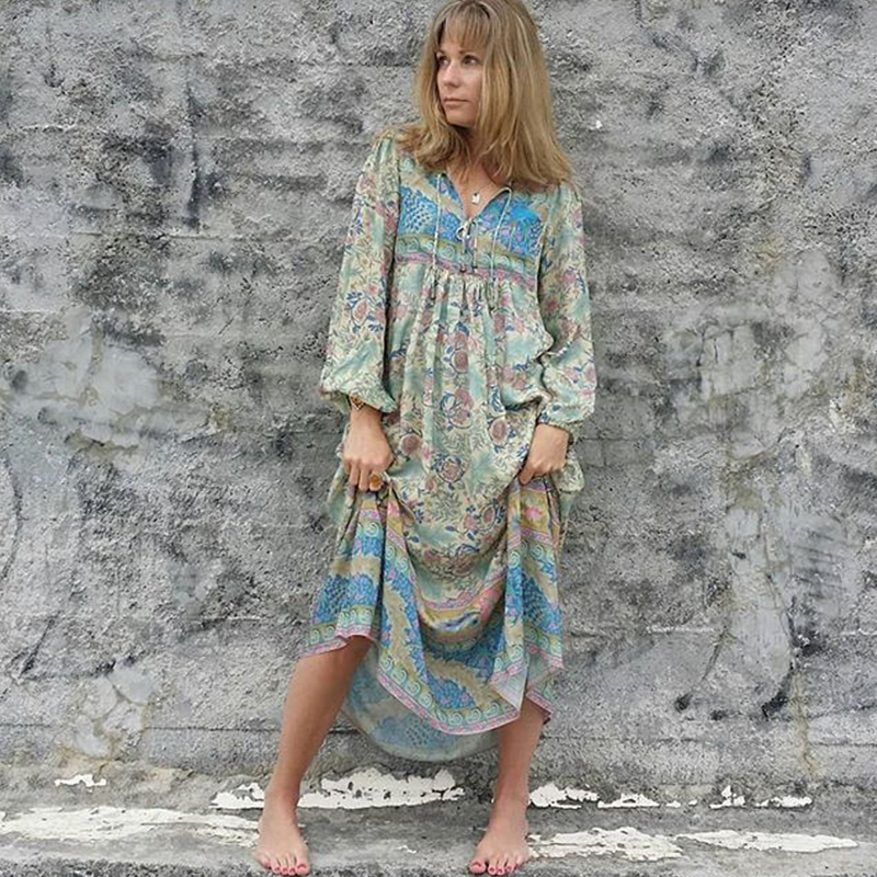1b630a53260e8 BOHOFREE Gpysy Chic Women Floral Boho Maxi Dress Beach Dresses Mujer V-neck  Long Sleeve Rayon Cotton Vestidos OASIS Long Gown