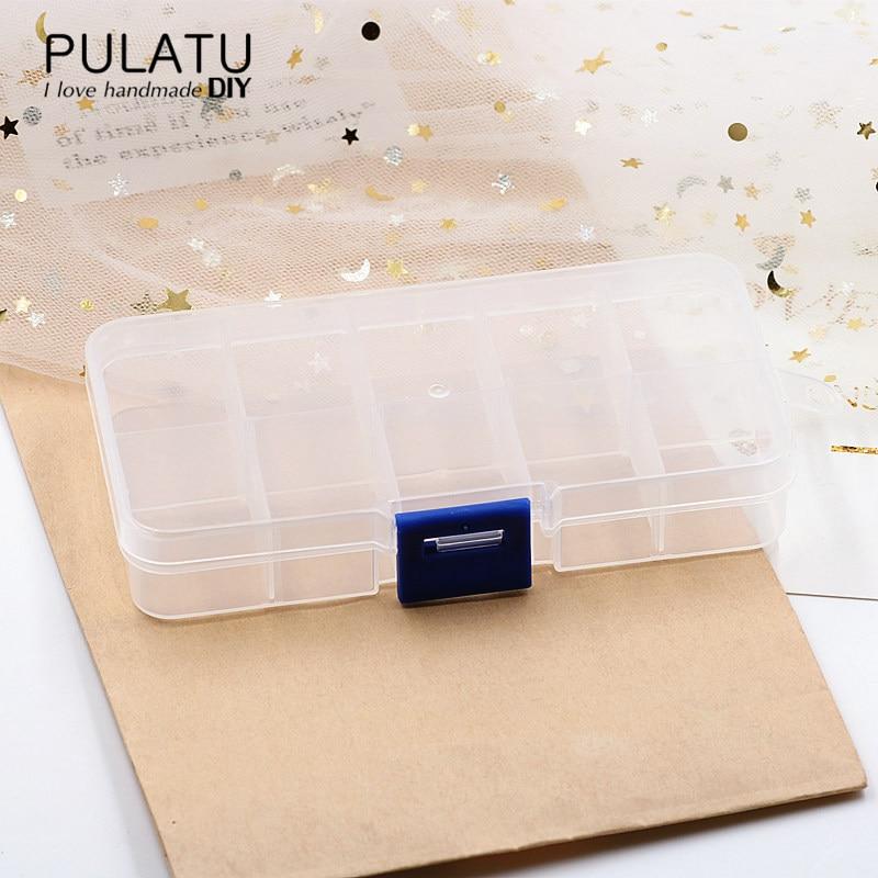 PULATU High Quality 10 Cells Transparent Plastic Jewelry Box Storage Display Square Design Jewellry Organizer Gift Boxes Cases