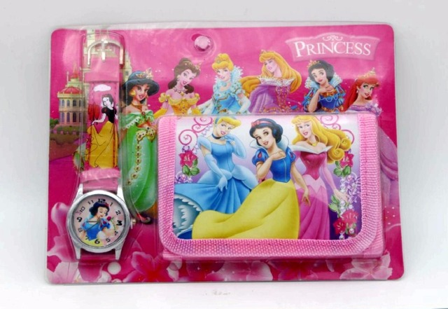 2017 new 1pcs/lot princess Watch with wallet,birthday gift for children Y118