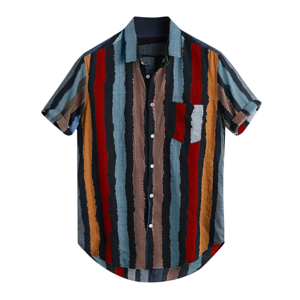 Womail Mens Loose Multi Color Stripe Lump Chest Pocket Short Sleeve Blouse Plus Size Summer Shirts And Blouses Round Hem Shirts Рубашка