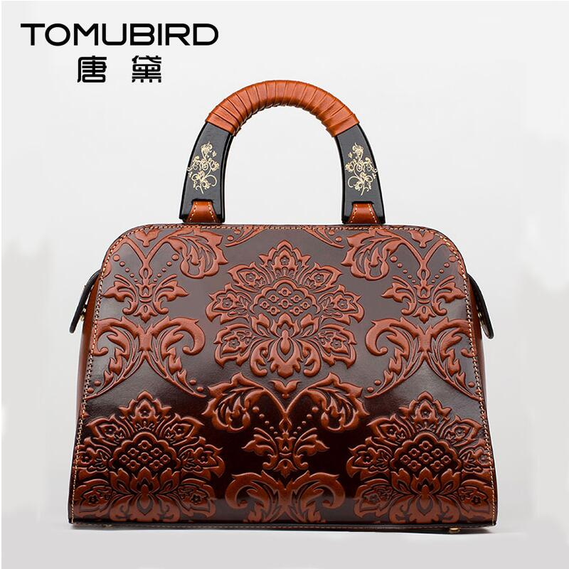 Famous brand top quality Cow Leather women bag Ethnic original hand bag and China Wind embossed shoulder bag Shell bag