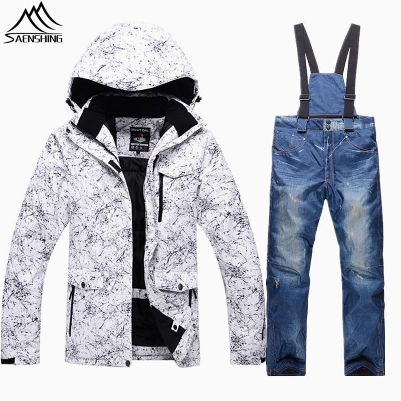 SAENSHING snowboarding suits winter ski suit outdoor ski jacket men winter waterproof snow jacket+snowboard pant male snow suit купить