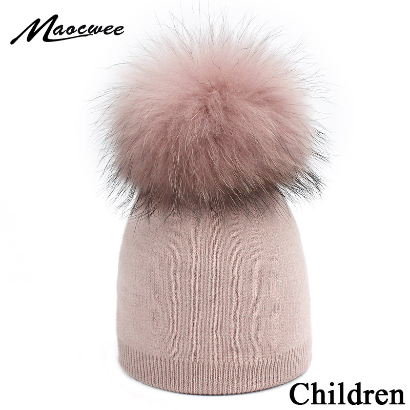 Children's Knit Beanie Hat Dyeing Raccoon Fur Pom Pom Winter Hat Boy Girl Warm Skullies Bone Brand Kids Baby Soft Cap