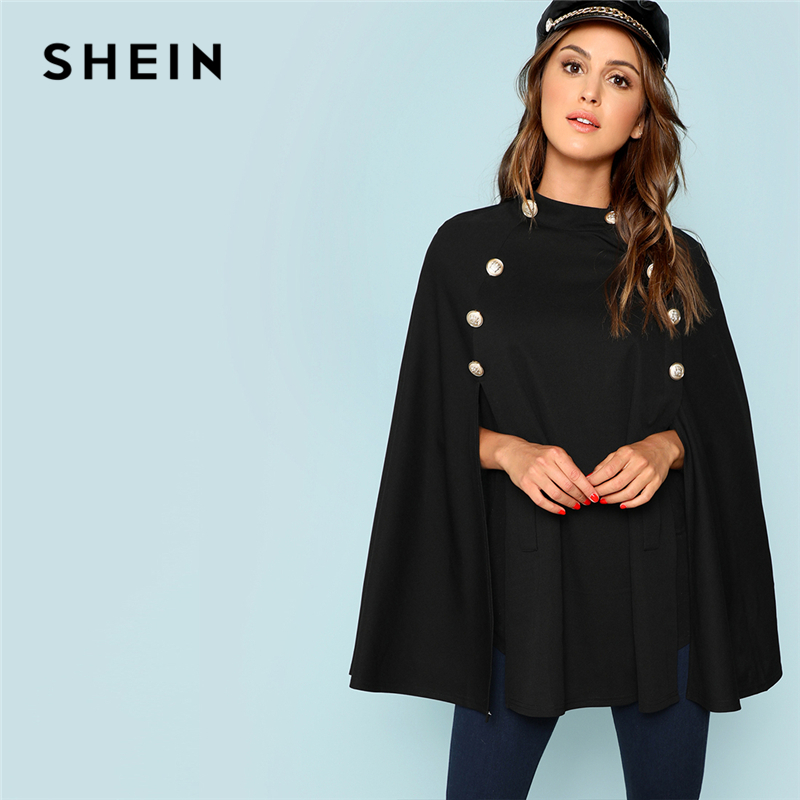 SHEIN Black Highstreet Office Lady Double Button Mock Poncho Solid Elegant Coat 2018 New Autumn Women Workwear Outerwear Clothes