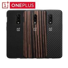 Original OnePlus 6T Stoßstange Fall Offizielle Original Material Kevlar + TPU Alle runde Schutz Karbon Zurück Shell Cover onePlus6T