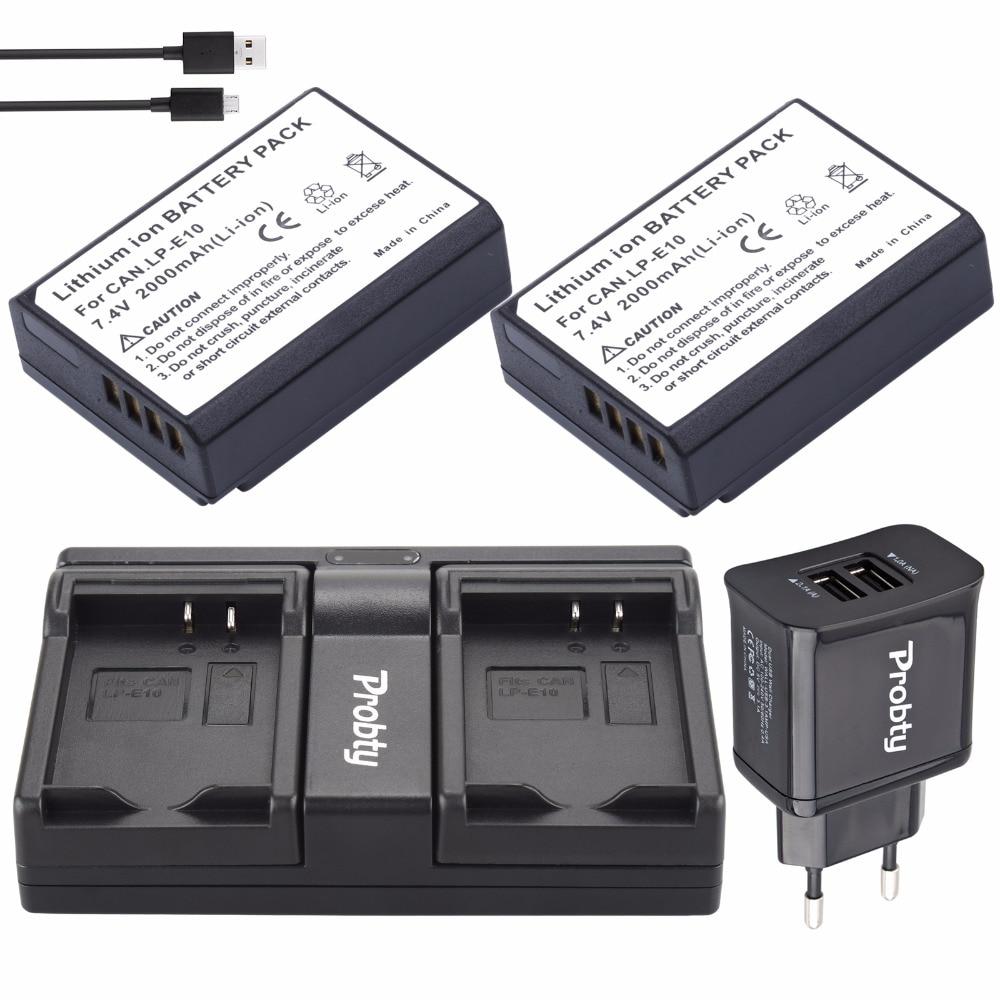 US $24 64 15% OFF PROBTY 2pcs LP E10 LP E10 LPE10 Battery + USB Dual  Charger + 2 Port Plug For Canon 1100D 1200D 1300D Rebel T3 T5 KISS X50  X70-in