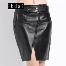 Ptslan Women's Genuine Leather Lambskin Skirt High Waist Sexy Shorts Femme Winter Skater Skirt