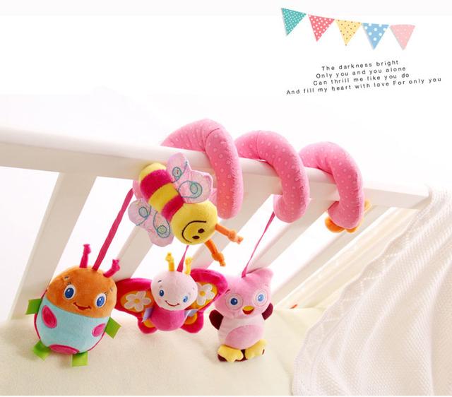 Super bonito rosa de pano chocalho cama em torno de anel de coruja borboleta recém-nascido brinquedo de menina