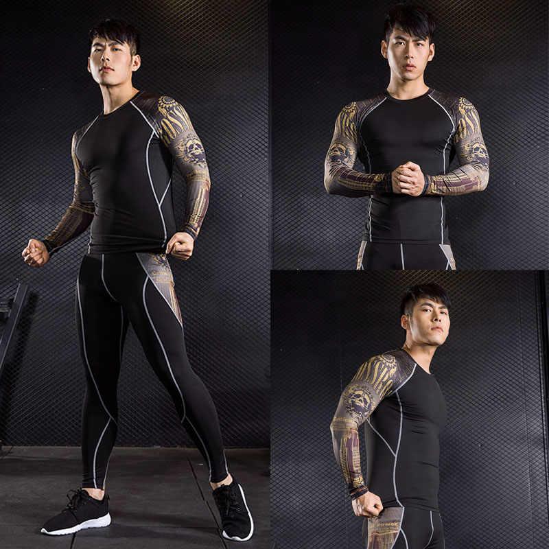 ブランドメンズ長袖 Tシャツ MMA rashgard キット熱下着圧縮クロスフィットシャツフィットネスレギンスベース層 4XL