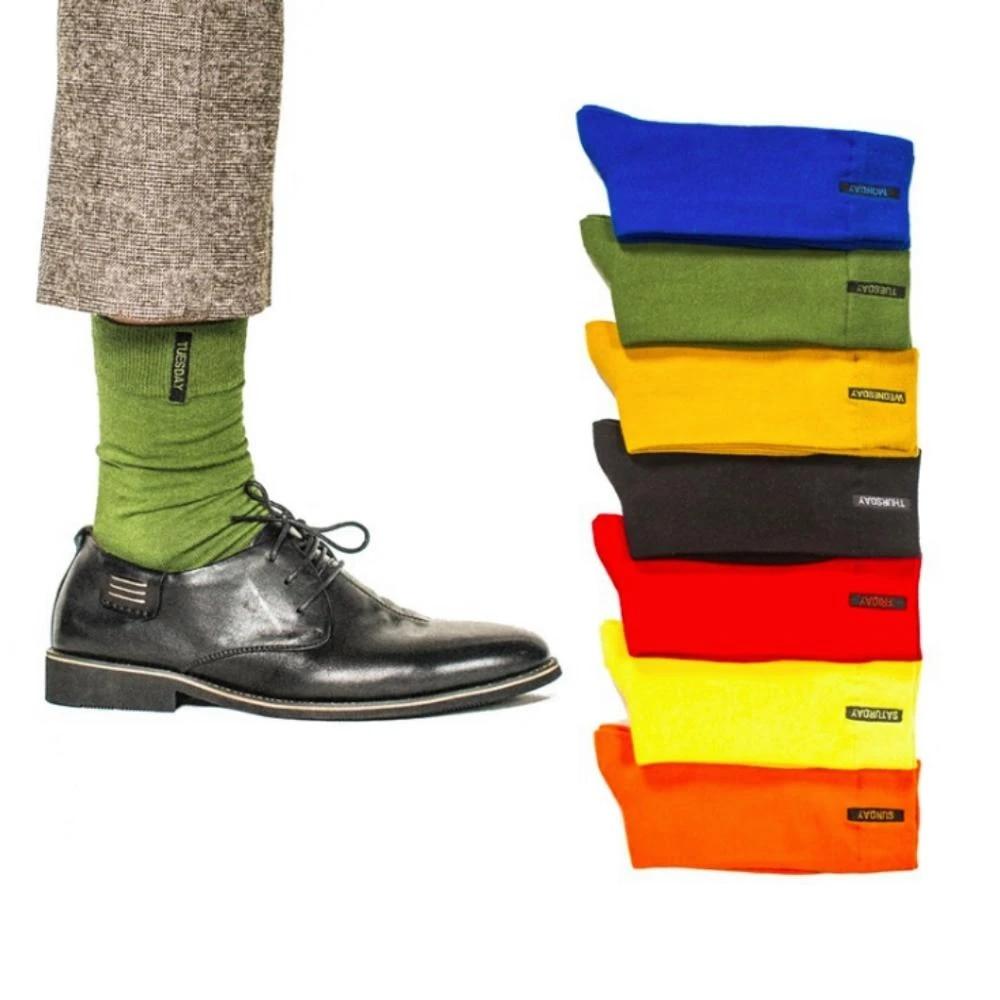 Weekly Socks Men Cotton Solid Men's Happy Socks Dress Casual Boys Socks  Fashion Candy Color 7 Days Week Socks Free Shipping|Men's Socks| -  AliExpress