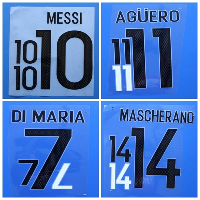 017ee2b6b46 New Argentina MESSI MASCHERANO AGUERO DI MARIA football number name font  print, Hot stamping Soccer patches badges