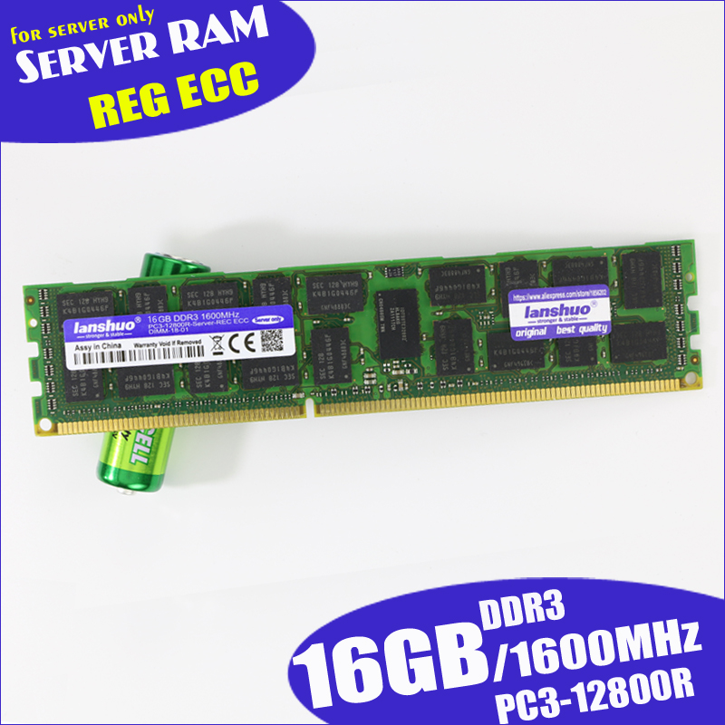 Lanshuo 16 ギガバイト PC3 12800R DDR3 1600 mhz 16 グラム 2Rx4 REG ECC 高品質のサーバメモリ RAM 通常の作業販売 1600 1866  グループ上の パソコン & オフィス からの RAM の中 1