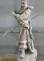 25 Chinese Natural Shoushan Stone Dragon Guangong Guan Yu Gong God Sword Statue