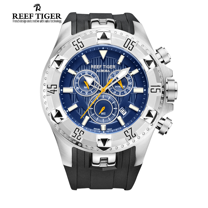 Luxury Brand Reef Tiger Men Casual Watches Quartz Watch Chronograph Date Big Dial Super Luminous Sport Watch Relogio Masculino reef tiger brand men s luxury swiss sport watches silicone quartz super grand chronograph super bright watch relogio masculino