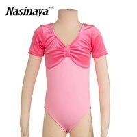 4 Colors Kid Girls Rhythmic Gymnastics Leotard RG Fitness Wear Leotard Ballet Dance Dress Costume Children Short Sleeves