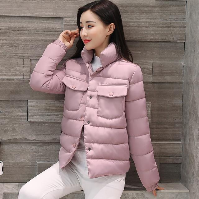 2017 Winter Jacket Coat Women Cotton Basic Jacket Padded Slim Warm Parkas Stand Collar Coat Female Autumn Outerwears