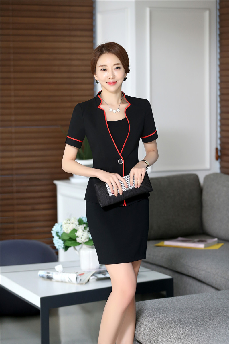 Summer Formal Red Blazer Women Business Suits with Dress and ...