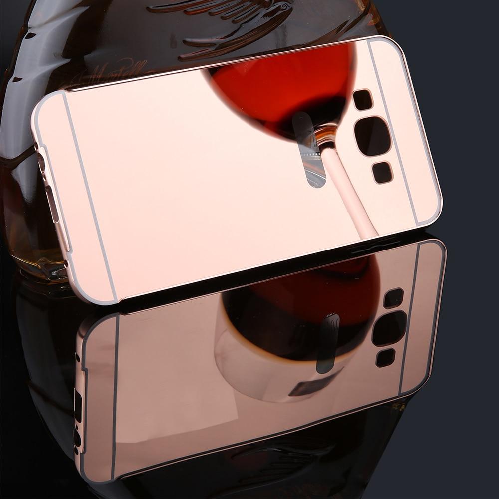 J5 J7 Mirror Case Luxury Plating Metal Frame + Ultra thin Slim Mirror Back Cover 2 in 1 Phone Case For Samsung Galaxy J5 J7 2015
