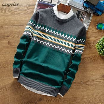 Brand New Sweaters Men Fashion Style Autumn Winter Patchwork Knitted Quality Pullover Casual Sweater XXXL Laipelar