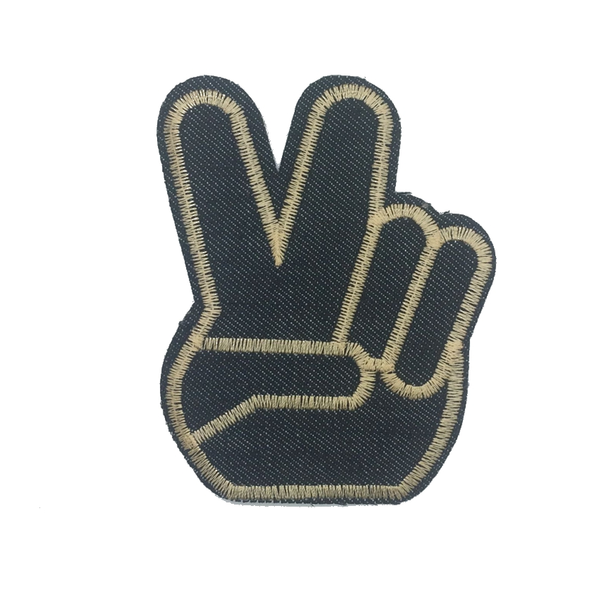 1Pcs Victory Hand Sign Women <font><b>Finger</b></font> Embroidered Iron On Applique <font><b>Peace</b></font> <font><b>Fingers</b></font> <font><b>Patch</b></font> for Clothing Hat Bag Jean Diy