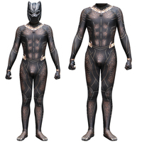 Black Panther Erik Killmonger Gold Jaguar Cosplay Costume Jumpsuit Fancy Zentai Mask
