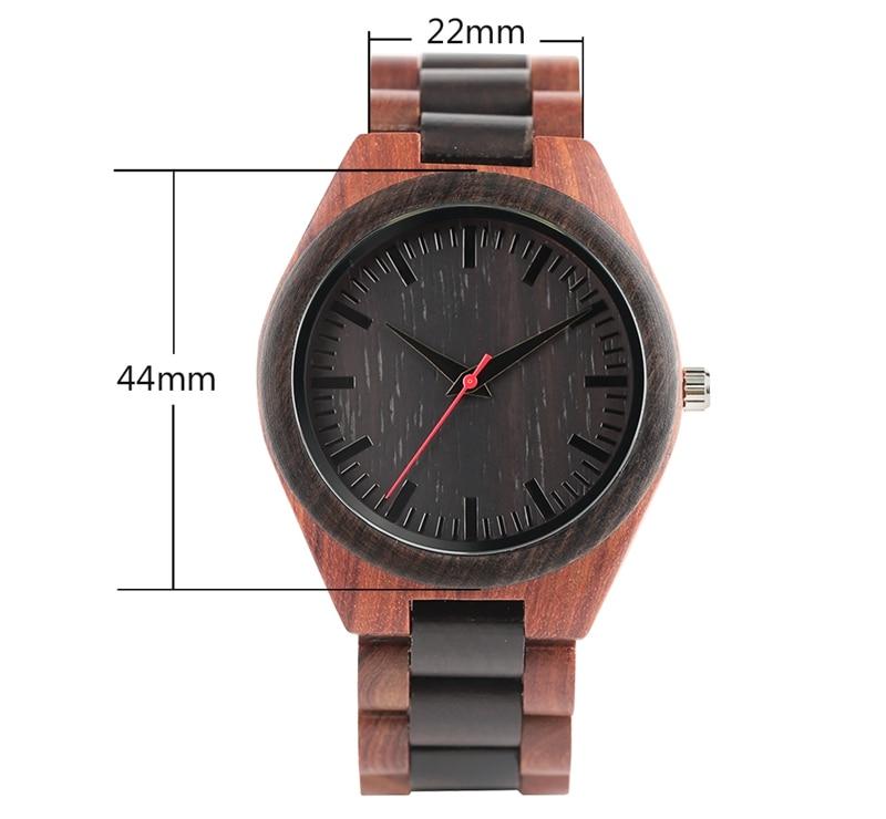 YISUYA Men's Ebony Wooden Watch Wood Strap Quartz Analog Creative Wristwatch Simple Nature Bamboo Male Watches Clock saat (14)