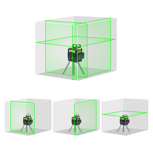 Image 3 - Huepar 12 satır 3D çapraz çizgi lazer seviyesi yeşil lazer işın kendinden tesviye 360 dikey ve yatay gözlük ve lazer alıcı