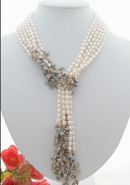 купить FREE SHIPPING>>> Many color can choose Beautiful 3Strds 49 White&Grey Keshi Pearl Necklace онлайн