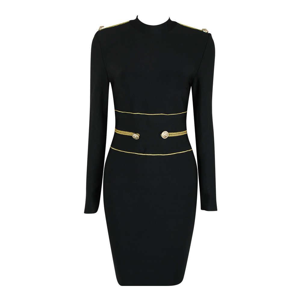 KLEEZY חדש הגעה מפעל Outlet Vestidos Verano 2019 Bodycon תחבושת שמלה אלגנטית מזדמן ארוך שרוול סקסי שמלות HL4099