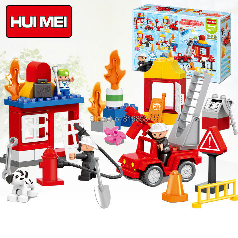 Original HUIMEI 52PCS Fire Station Rescue Team Fighter Brick Set Educational Kids Toys DIY Building Blocks Compatible with Duplo cheerlink zm 81 3mm neodymium iron diy educational toys set silver 81 pcs