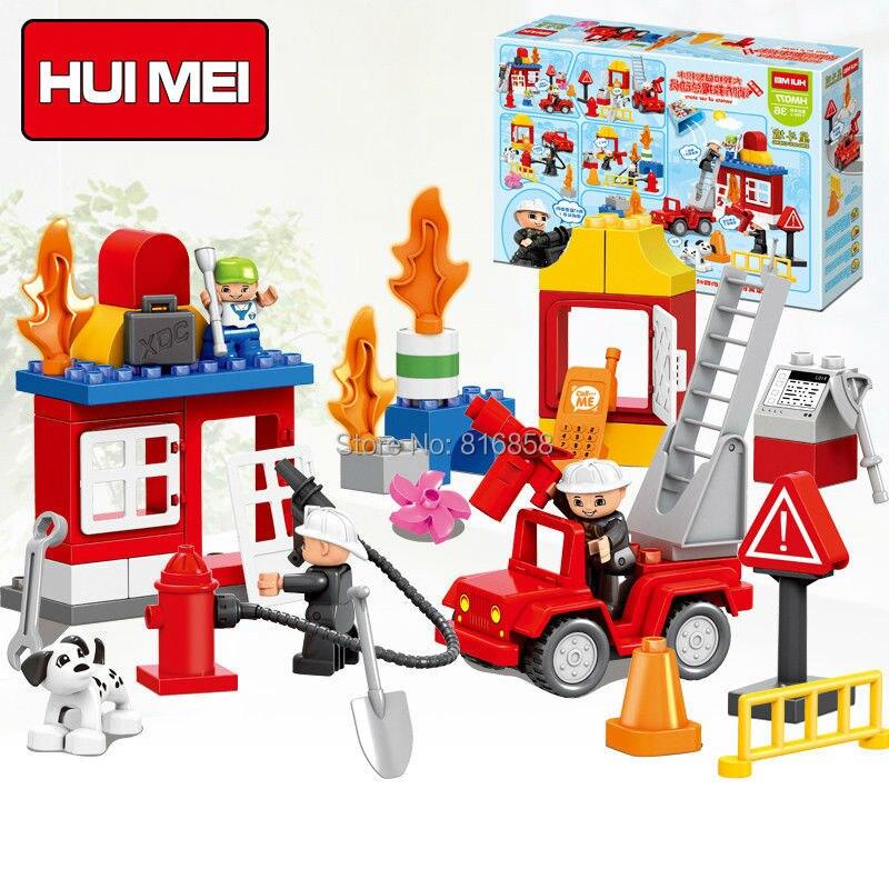 Original HUIMEI 52PCS Fire Station Rescue Team Fighter Brick Set Educational Kids Toys DIY Building Blocks Compatible with Duplo