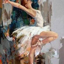 Высокое качество, ручная работа,, Танцующая балерина, картина маслом, известный махнор, художник, нарисованная абстрактная балетная девушка, настенная живопись